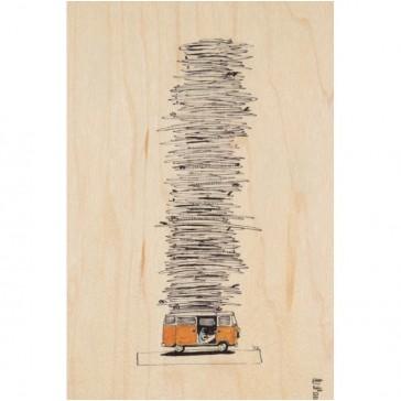 """Carte postale en bois d'érable """"Bus"""" par Woodhi"""