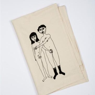 """Torchon en coton """"Naked couple"""" par helen b"""