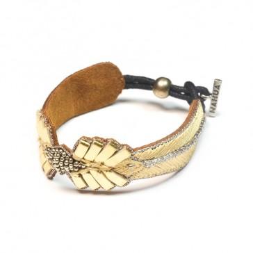 "Bracelet brodé ""Colombe Or"" par Nahua"