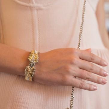 "Bracelet brodé ""Colombe Or"" de la marque Nahua"