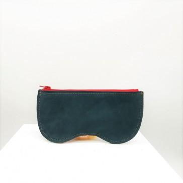 Etui à lunettes en peau recyclé vert sapin par Bandit Manchot
