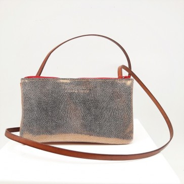 """Mini sac en cuir à double soufflet """"Argenté et orange"""" par Bandit Manchot"""