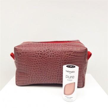Trousse à maquillage en cuir recyclé prune façon croco par Bandit Manchot