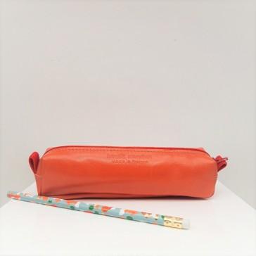 Trousse à crayons en cuir reyclé orange par Bandit Manchot