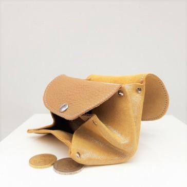 intérieur de porte-monnaie en cuir bimatière couleur camel par la cartablière fabriqué en france.