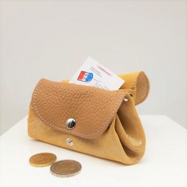 Porte-monnaie à soufflets, modèle Accordéon par La Cartablière en cuir camel pailleté fabriqué en France