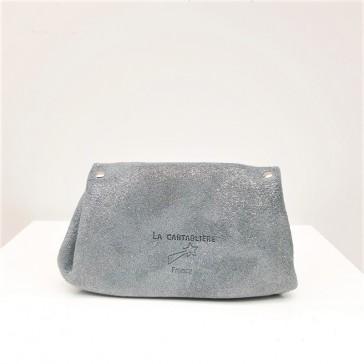 dos de porte-monnaie pailleté gris fabriqué dans le Tarn par la Cartablière.