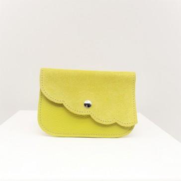 """Petite pochette ou porte-monnaie en cuir """"Fleur jaune canari"""" par La Cartablière"""