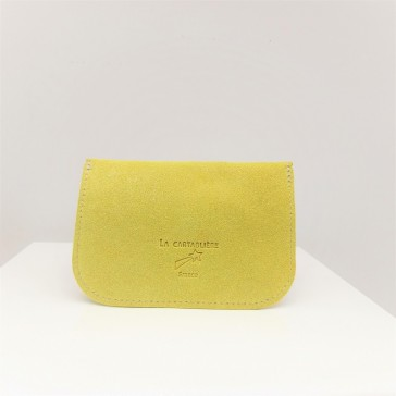 """Dos de la petite pochette ou porte-monnaie en cuir """"Fleur jaune canari"""" de La Cartablière"""