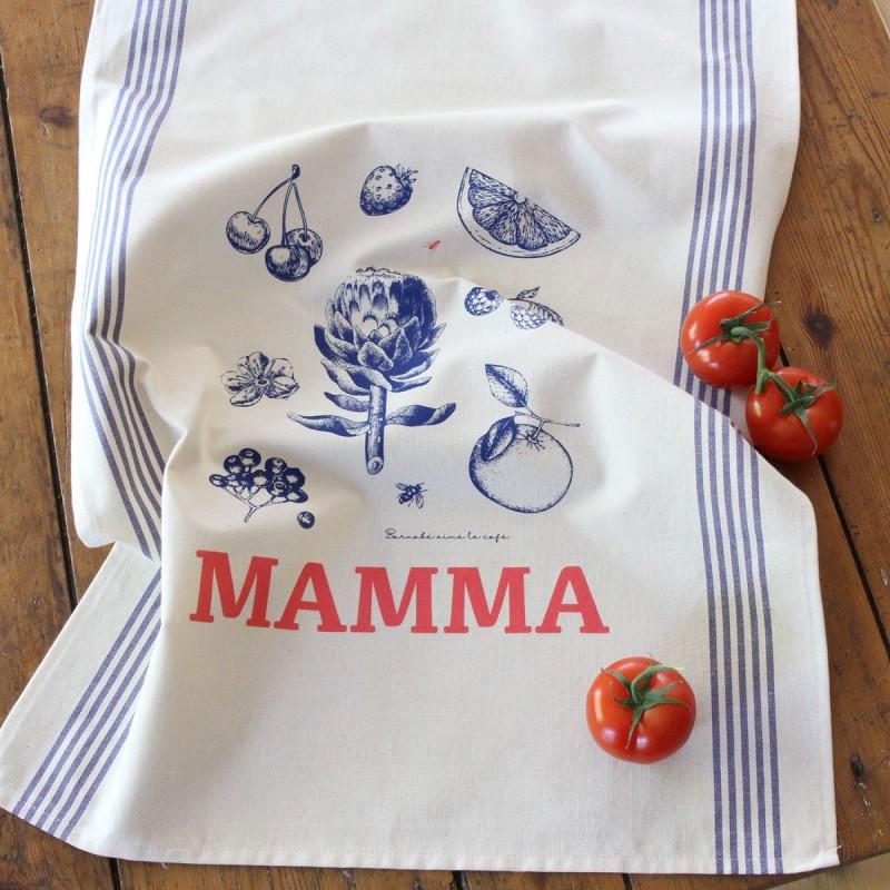 """Torchon de cuisine XL sérigraphié """"Mamma"""" par Barnabé aime le café"""