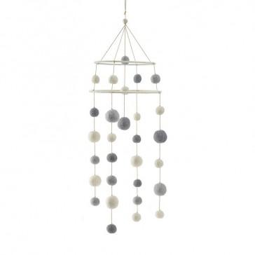 """Mobile décoratif en laine """" a little dream"""" couleur galet par Pehr"""