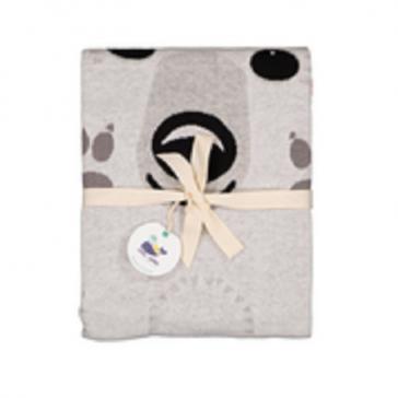 """Packaging de la couverture en tricot de coton bio """"Ours polaire"""" par Coq en Pâte"""