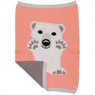Couverture réversible pour bébé en tricot de coton bio à motif d'ourson par Coq en Pâte