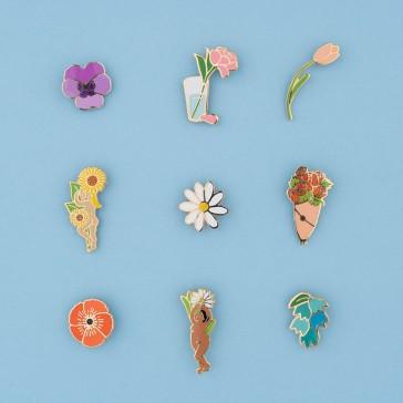 Collection de pin's en forme de fleurs par Coucou Suzette