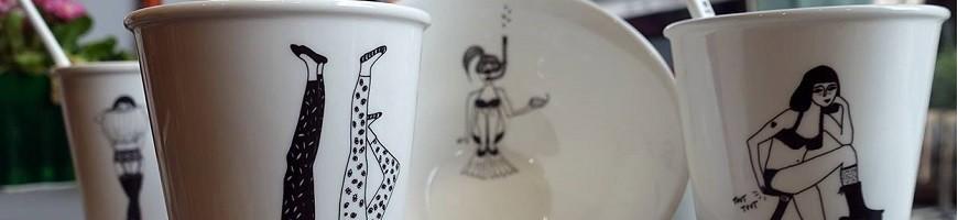 Vaisselle, tasses, plateaux, tous les arts de la table sont représentés chez Maison Pouic.