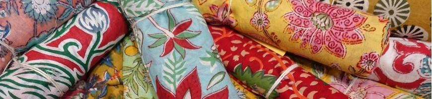 Véritables tissus indiens en voile de coton imprimés au block print et vendus à la coupe pour vous les couturières